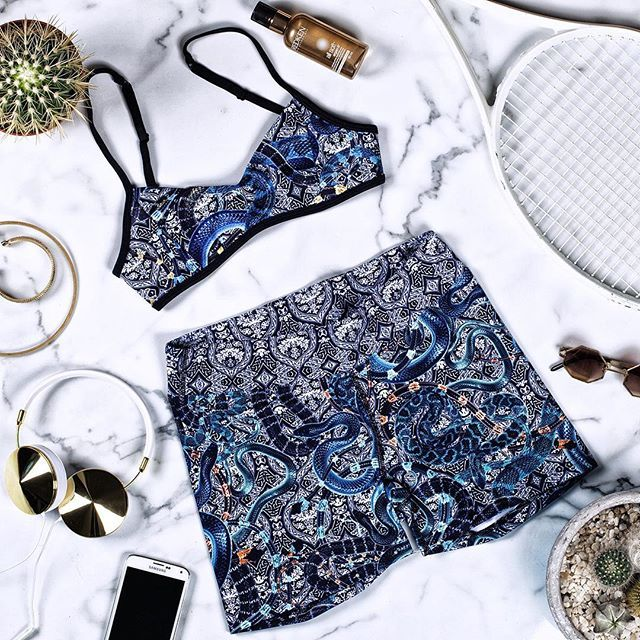 Ready for today! Heat Two is available now online and in stores. Pictured: The Medusa Bralette & Bike Shorts #activewear #wearehandsome #flatlay #flatlays #flatlayapp www.theflatlay.com