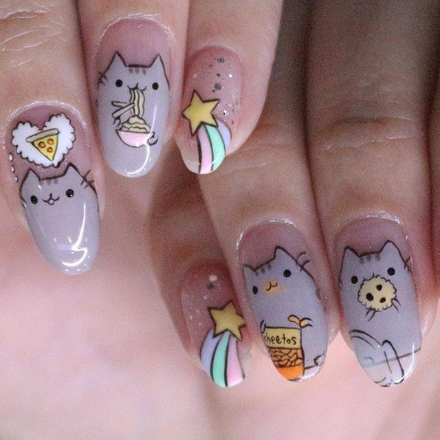The Nail Artelier On Instagram Pusheen Close Up Thenailartelier Hajilane 62988028 Kembangan 66362886 Kawaii Nail Art Cat Nail Art Kawaii Nails