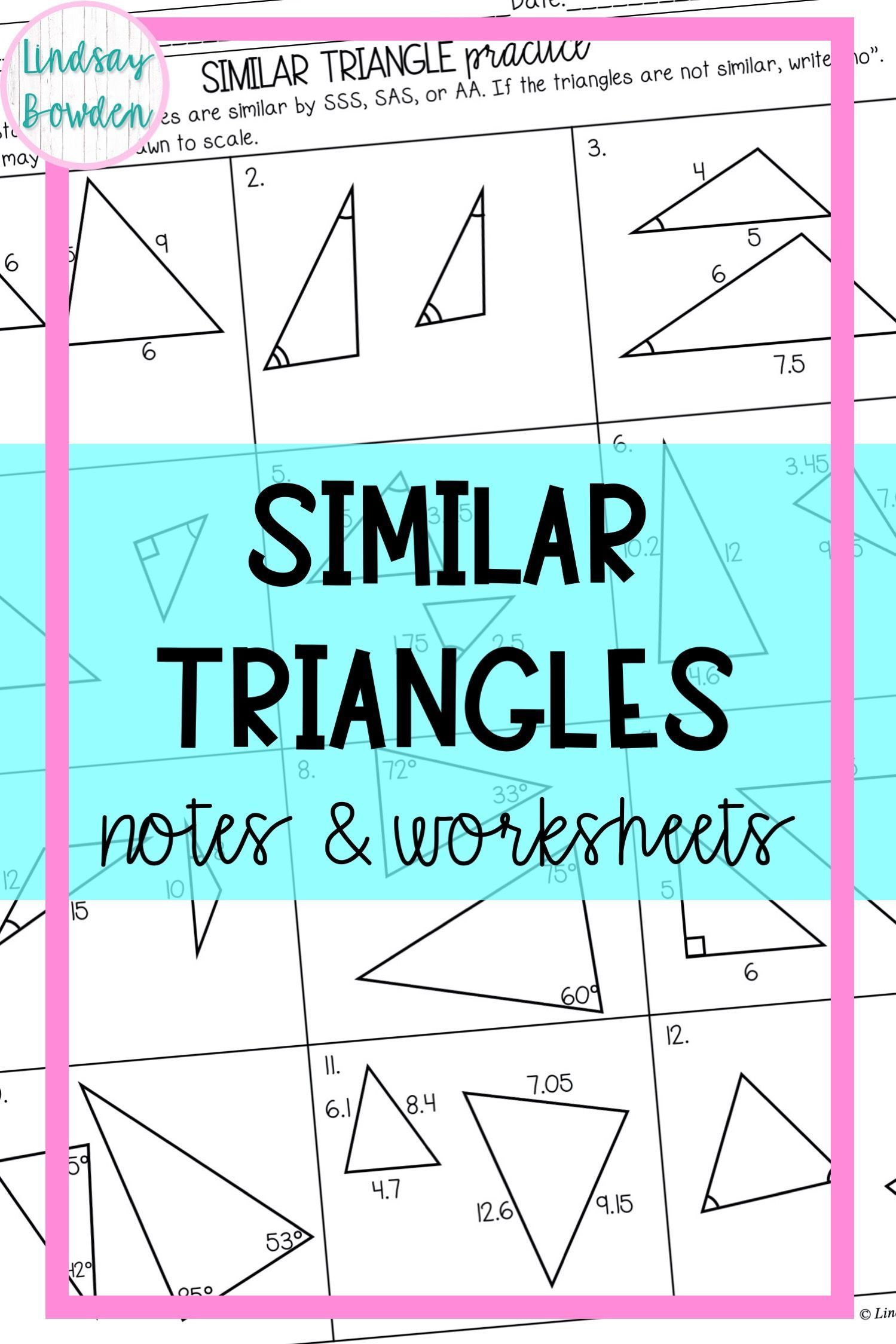 Similar Triangle Notes And Worksheets In 2021 High School Geometry Notes Geometry Notes Algebra Worksheets