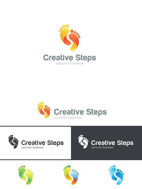 Footsteps creative logo shoes. Human Icons. $23.00