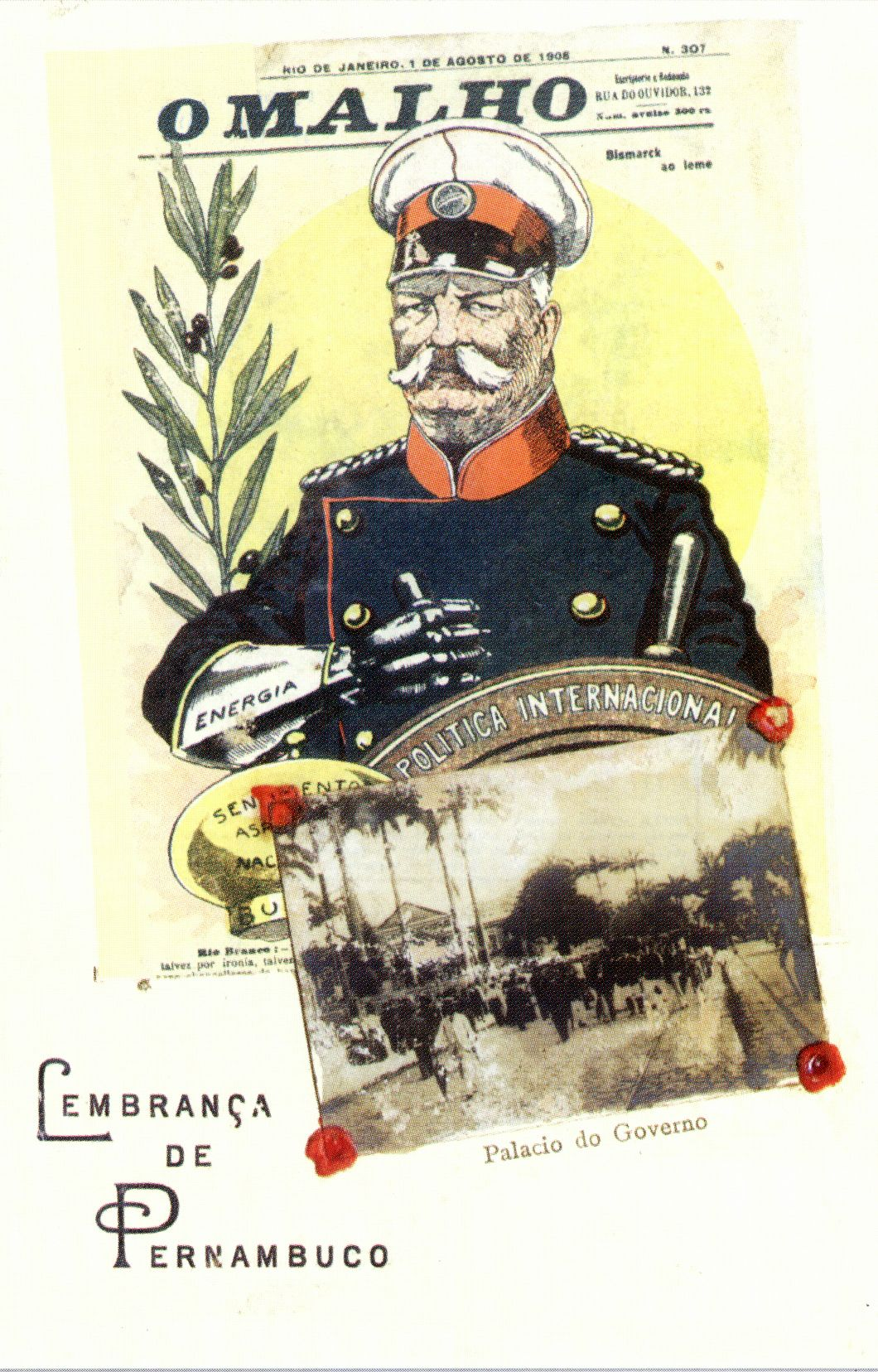Cartão da revista O Malho com o Barão do Rio Branco, Lembranças de Pernambuco, 1906