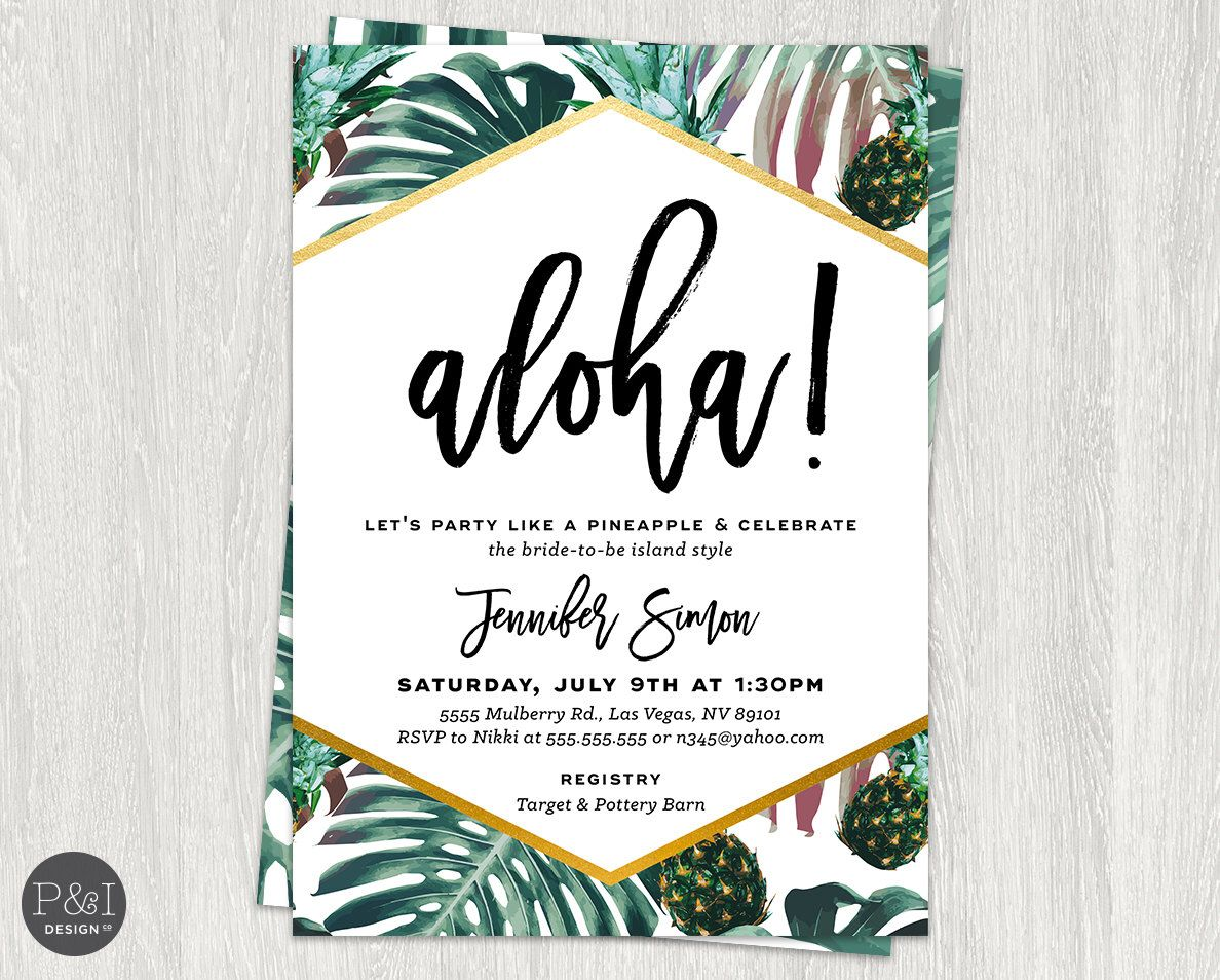 Tropical bridal shower aloha luau shower pineapple palm leaf aloha luau bridal shower pineapple bridal shower invitation diy customized printable by paperandinkdesignco on etsy filmwisefo