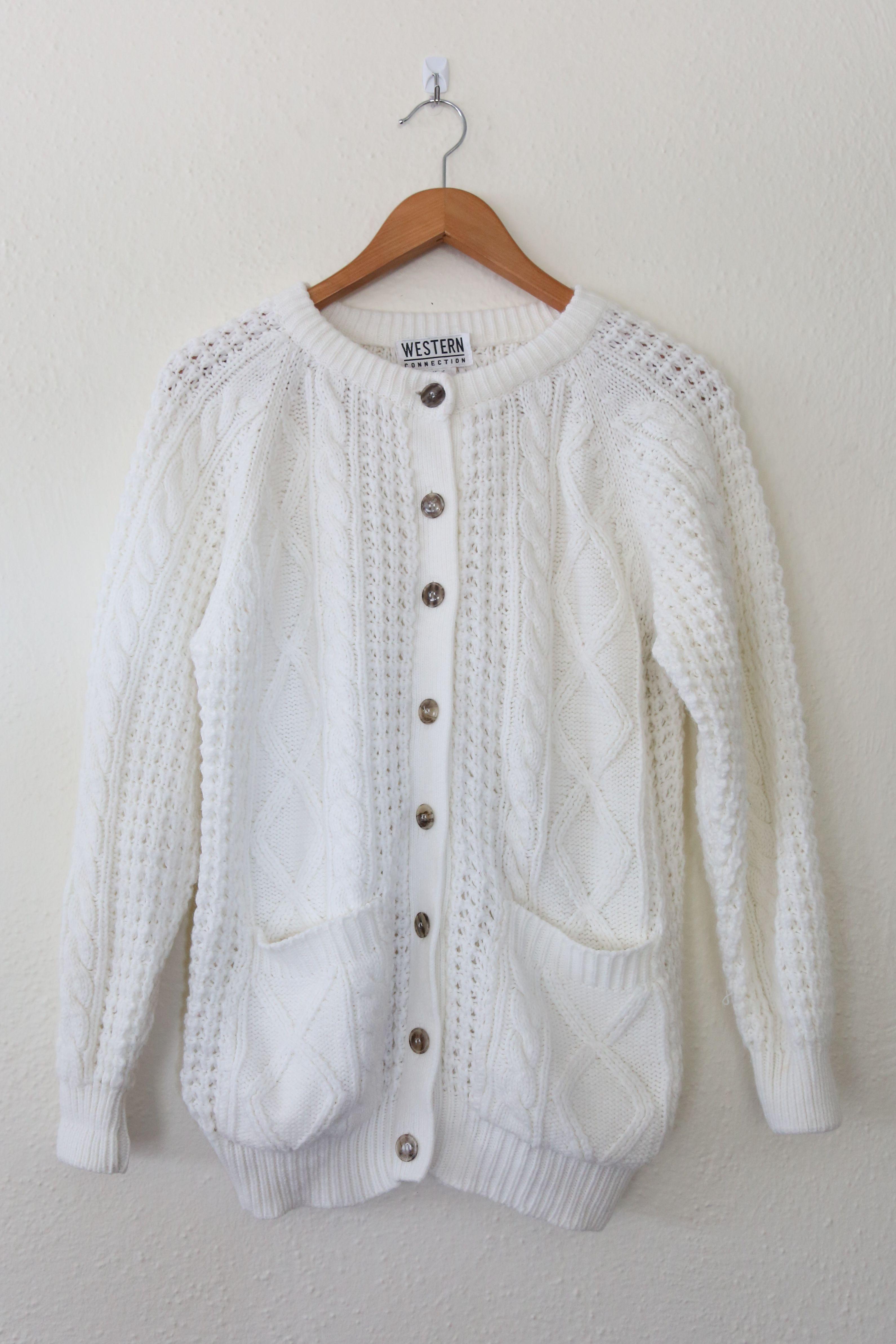 Flourish Vintage Fisherman's Knit Cardigan/ Baggy Cardigan Cable ...