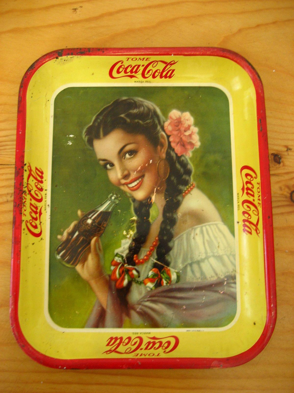 Vintage Coca Cola Tin Tray 1930s Mexico Authentic Beautiful Senorita