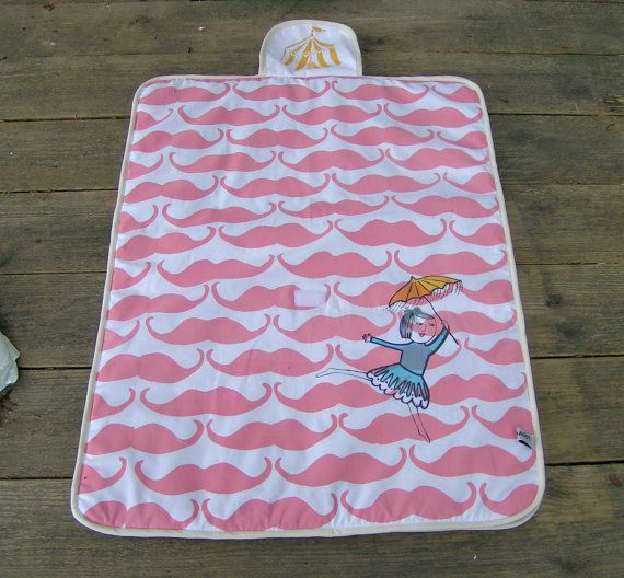 Screenprinted changing pad  Madame moustache by normadot on Etsy, $52.00