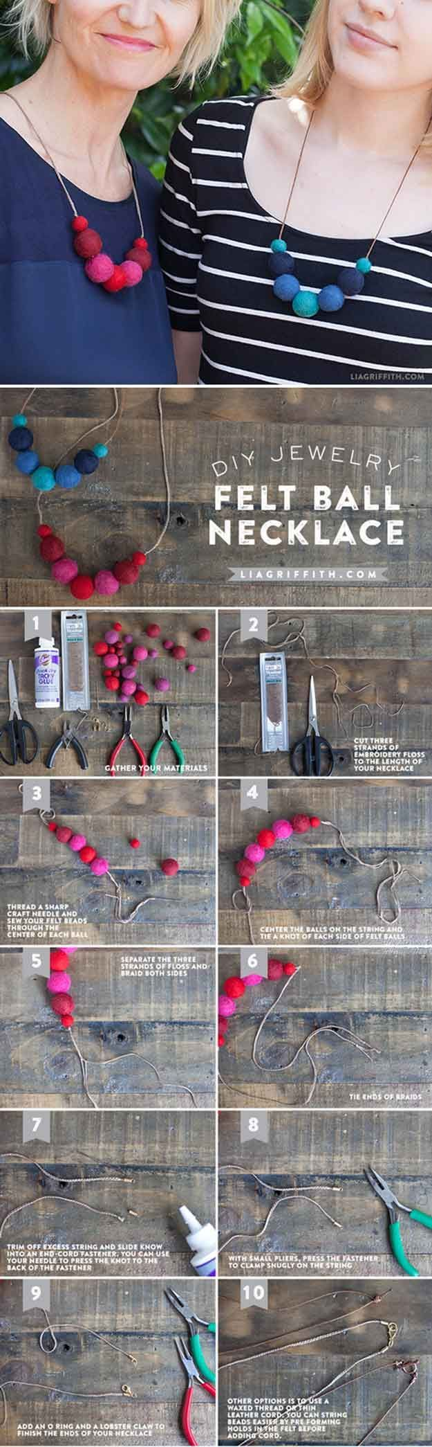 Easy crafts to make and sell for a crafty entrepreneur easy diy cheap and easy diy crafts to make and sell diy felt ball necklace by diy solutioingenieria Gallery