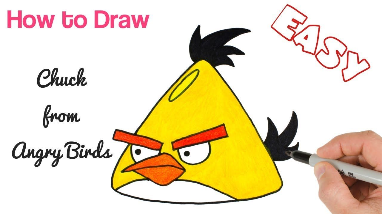 How to draw chuck from angry birds drawings for kids