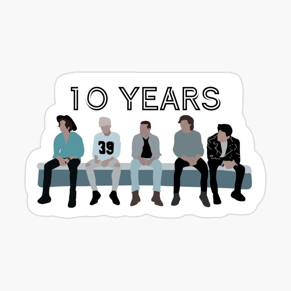One Direction 10 Year Anniversary Glossy Sticker By Islandchicart In 2020 One Direction Drawings One Direction Art One Direction