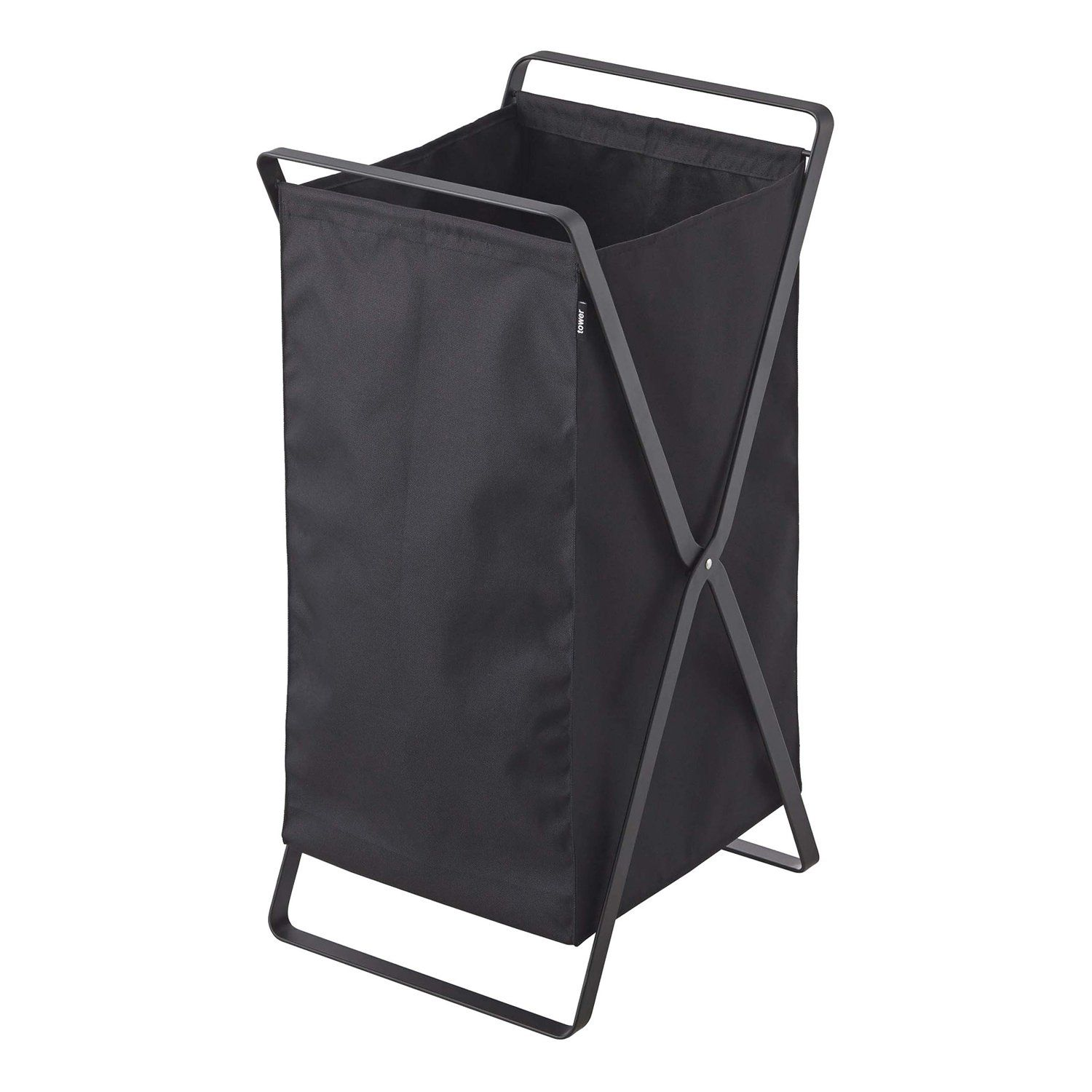Clothes baskets don't have to take up loads of space. This laundry hamper is lightweight, durable and collapsible. The hamper holds plenty of clothes and folds up for easy-carrying once it's time to do the wash. Perfect for carrying from the laundry room to the bedroom and back again. Ideal for dorm rooms and apartments tight on space.Dimensions + DetailsMaterials: Steel, PolyesterDimensions: L 14.2 x W 11.8 x H 25.2 inchesProduct Weight: 4.9 lbs.Load-bearing weight: 11 lbs.Designed in JapanManu