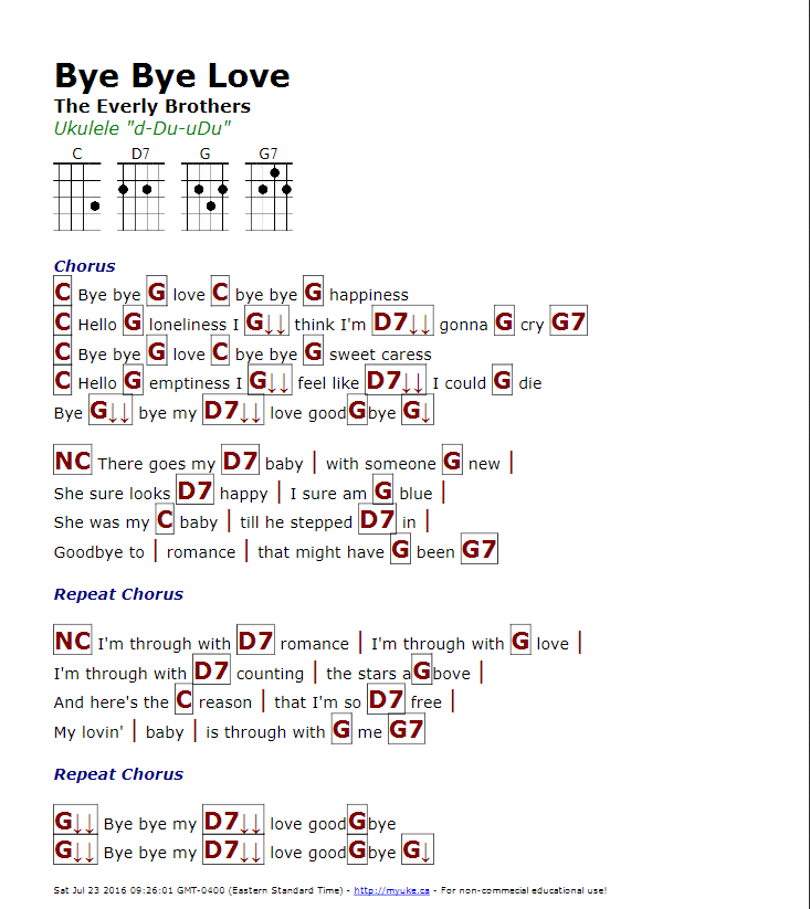 Bye Bye Love The Everly Brothers Httpmyuke Learn Guitar