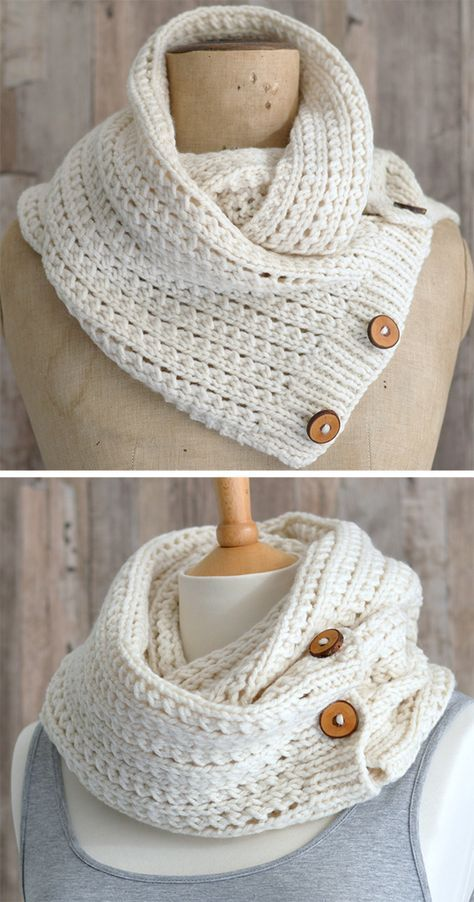 Knitting Pattern for Easy Rib Mesh Infinity Scarf = The buttoned ...