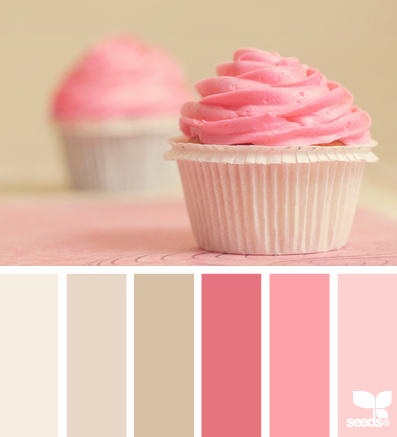 For the girls' room (recap: all 3 share a bedroom...yeah...I know!): cupcake tones ...