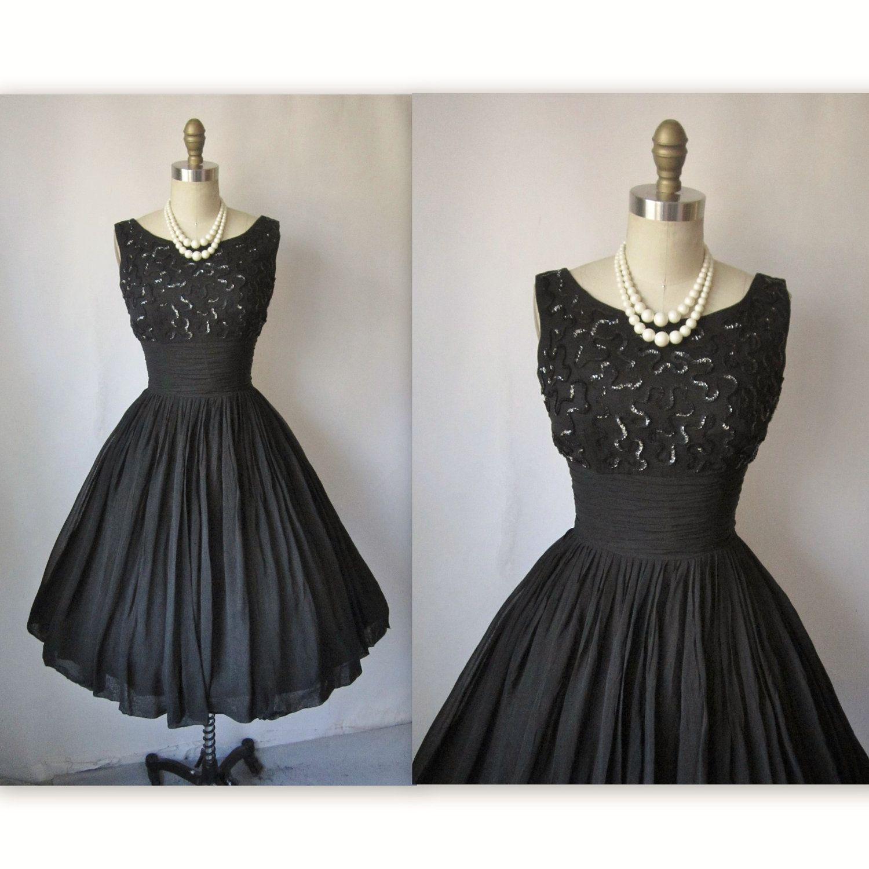 Vintage 1950's Black Chiffon Sequin Cocktail Party Dress
