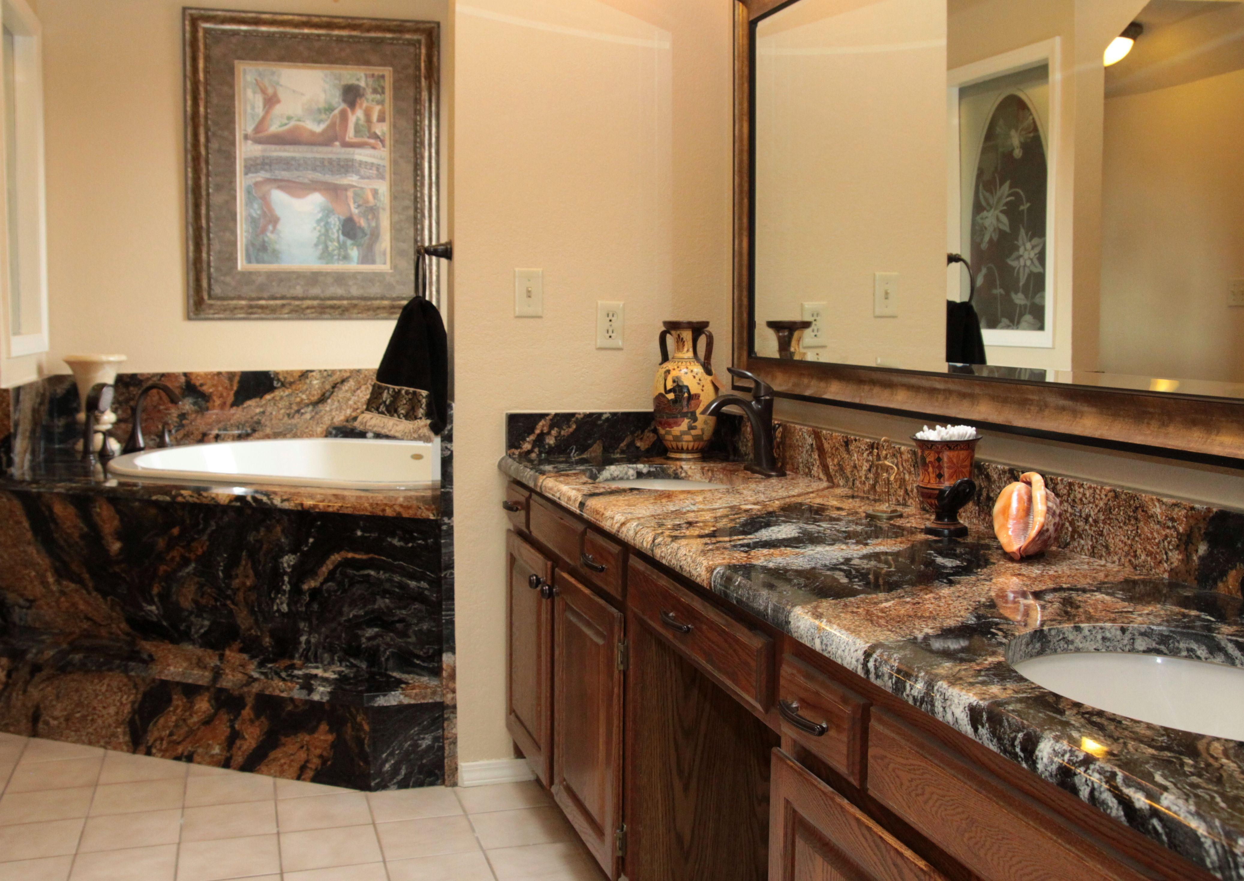 Sedna Magma Gold Granite Bathroom Vanity Tub Deck