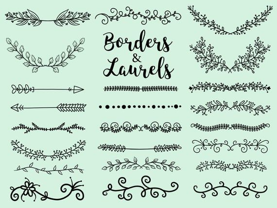 Photo of BORDERS and LAURELS, hand-drawn wreaths, doodle clipart, floral wreaths, rustic, drawn wreaths, png, svg, vector wreaths, wedding