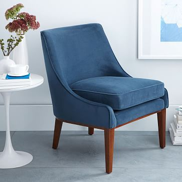 Lucille Chair #westelm $399 Velvet - love it. Get a sample of the ...