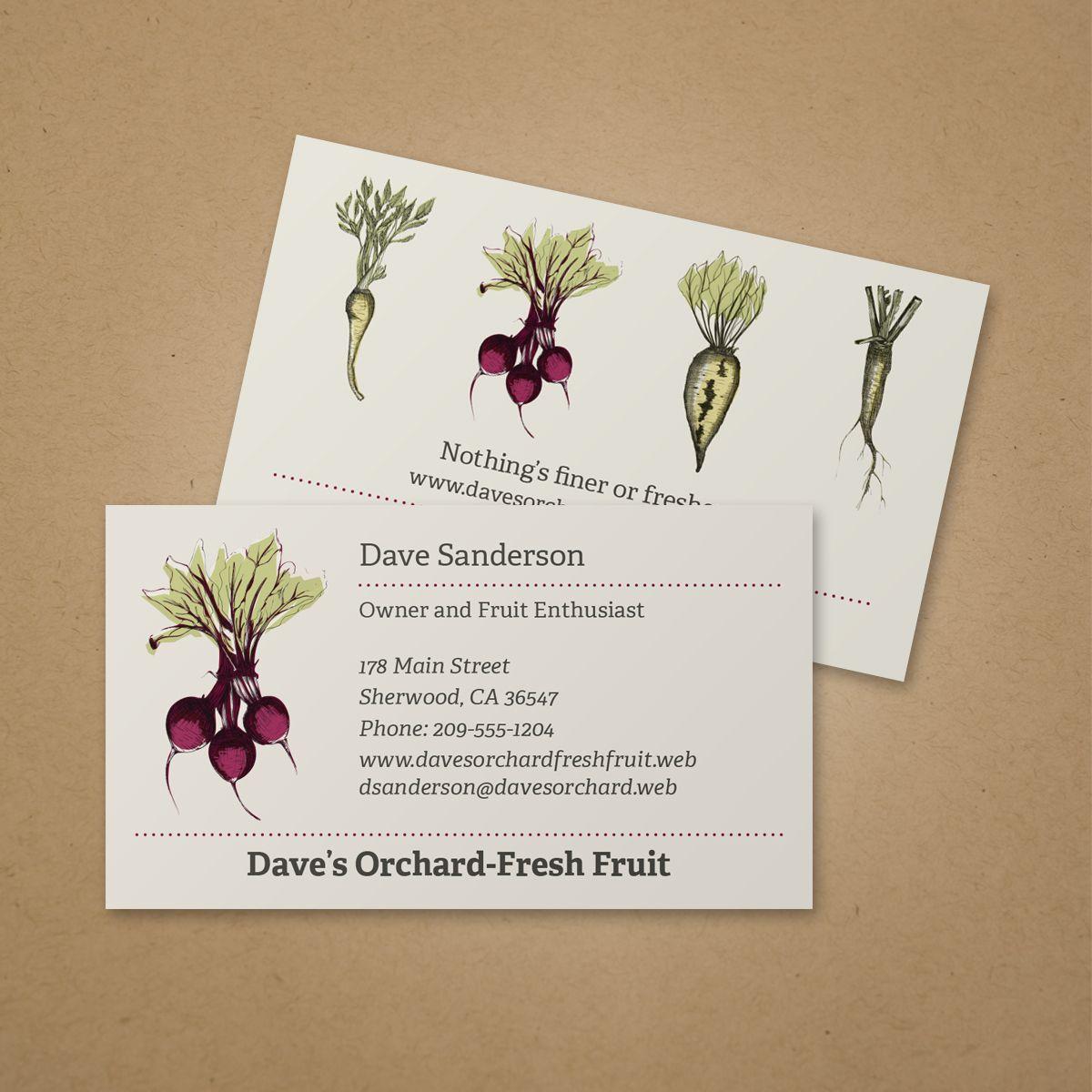 Beet Root Business Card | Vistaprint | Business Card Ideas ...