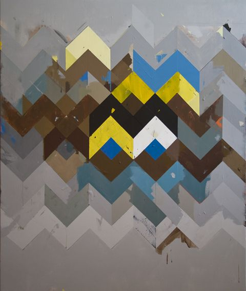 Jeff Depner   Reconfigured Grid Painting No.10, 2010: acrylic on canvas 52 x 47