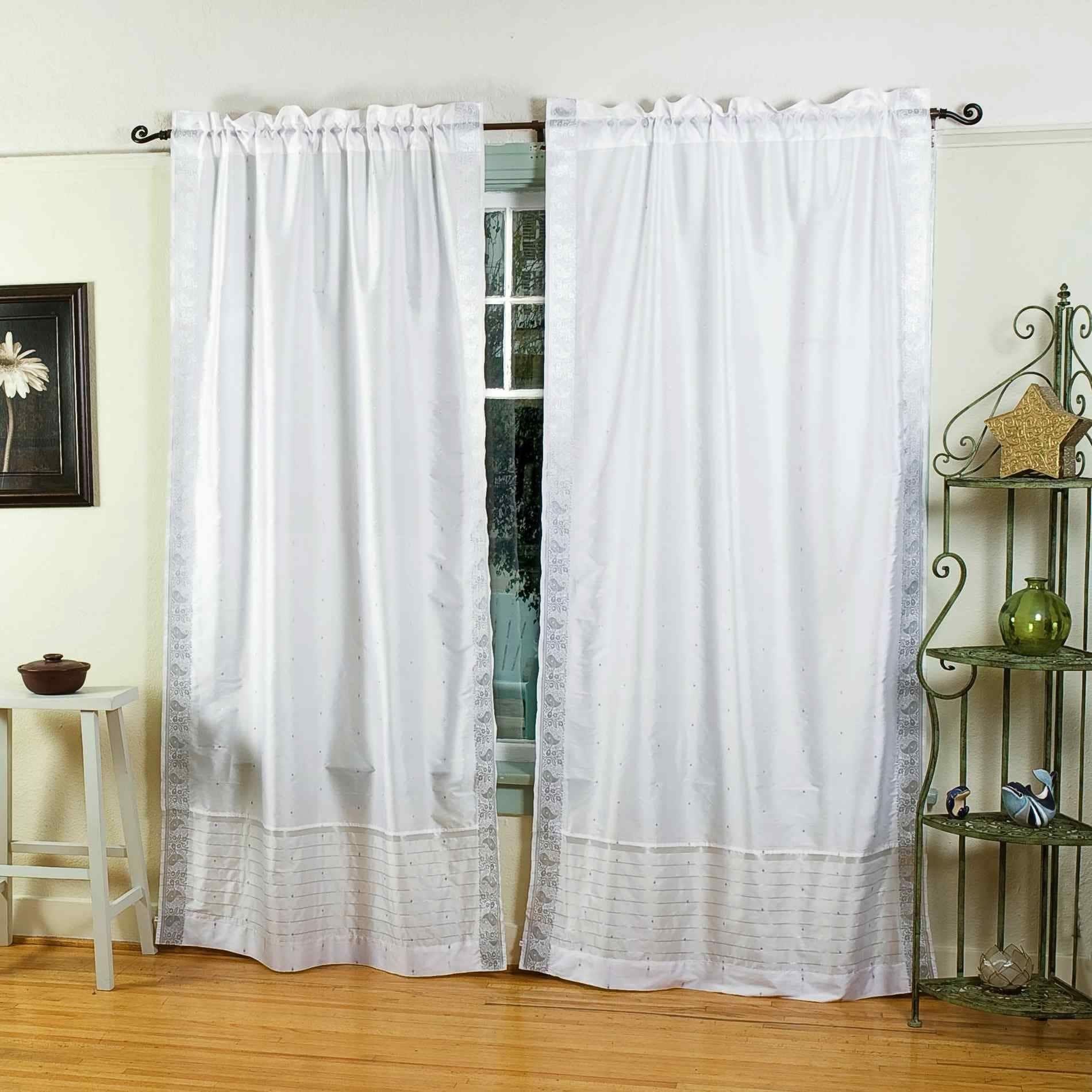 White Silver Rod Pocket Sheer Sari Curtain Drape Panel Pair