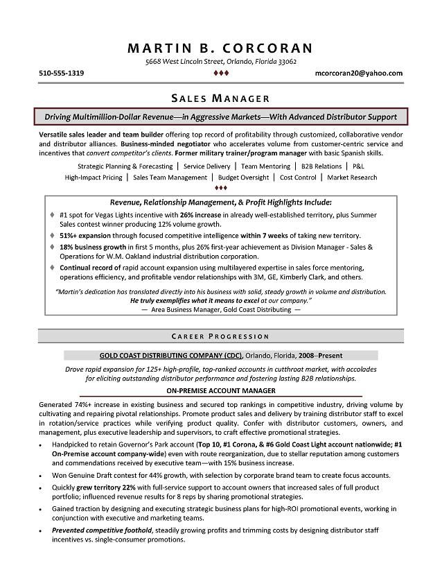 Resume Samples for Sales Manager Sample Resumes Sample Resumes - resume executive summary