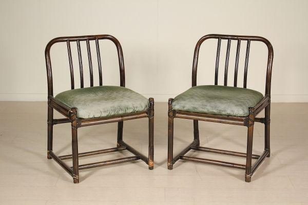 Imbottitura Sedie ~ Coppia di sedie legno di bambù imbottiture espanse rivestimento