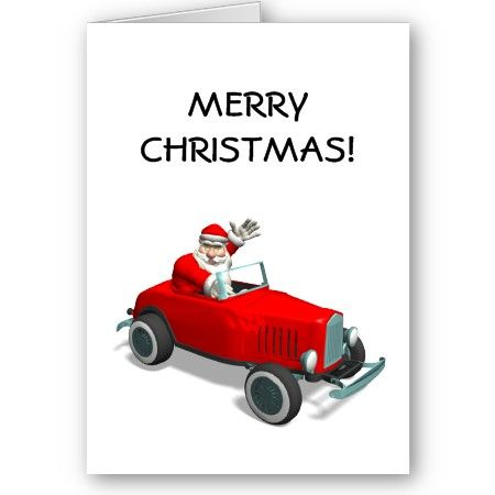 Santa Claus In Red Hot Rod