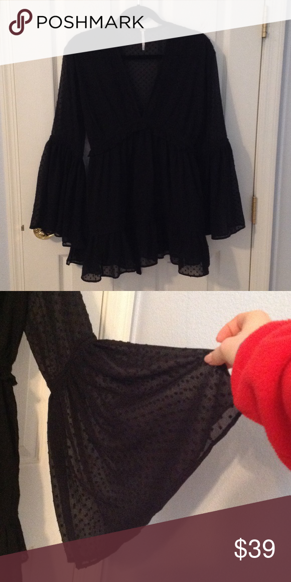 Free People Black Dress Super cute Black boho free people dress, sheer fabric with detailing and subtle ruffle at waist, ties at waist, bell sleeves Free People Dresses Mini