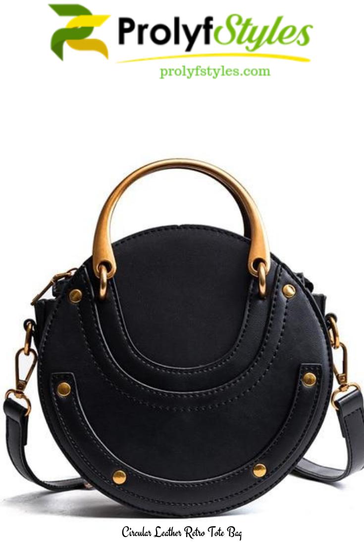 Circular Leather Retro Tote Bag in 2019  5f6749557e077