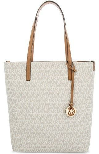 1387353438bf Michael Kors Hayley Large North South Top Zip Tote - Vanilla/Acorn -  30S7GH3T3V-149