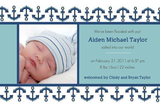 blue anchors baby boy birth announcement