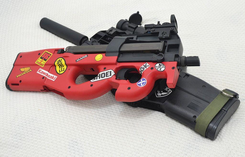 Custom Akira Themed Fn P90 Pdws Inspired By D Saku Milsim Guns