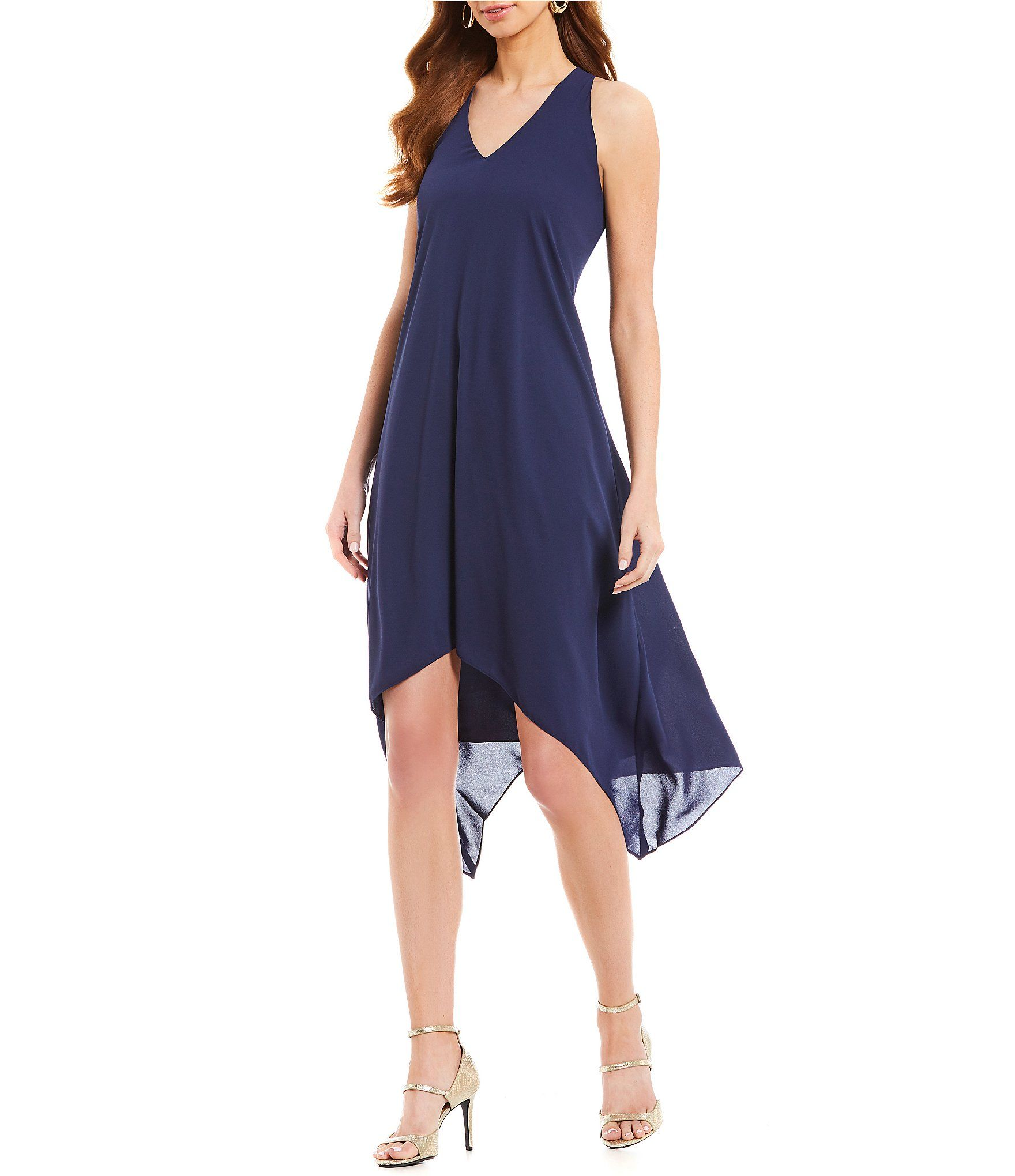 9024038a6ce Maggy London V Neck Silky Halter Trapeze Handkerchief Hem Midi Dress   Dillards