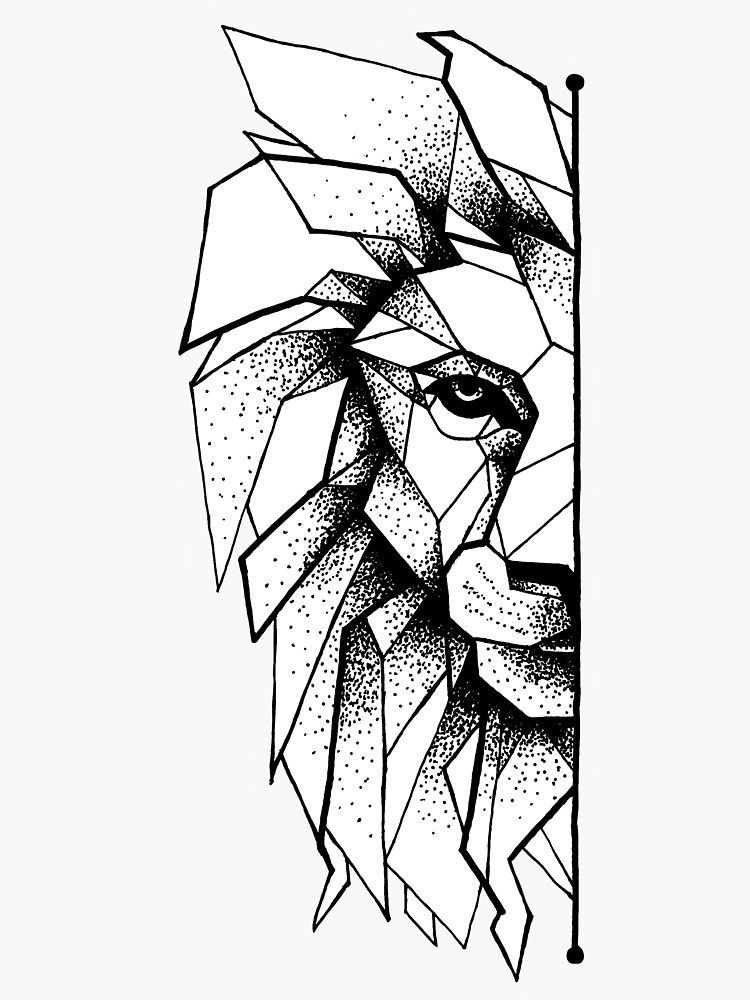 'Geometric Lion' Sticker by Bencolangelart