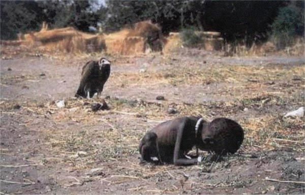 Kevin Carter – Vulture Stalking a Child  This shocking photo depicts a starving Sudanese child being stalked by a patient vulture. It is a horrific picture that gave people a true look at the dire condition in Sub-Saharan Africa. Kevin Carter, who took the photo, won a Pulitzer Prize for this work. Kevin then came under a lot of scrutiny for spending over 20 minutes setting up the photo instead of helping the child. Three months after taking the photo, he committed suicide.