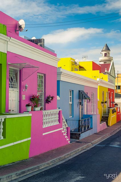 Visit Africa! Colorful houses in Bo-Kaap District, Cape Town, South Africa