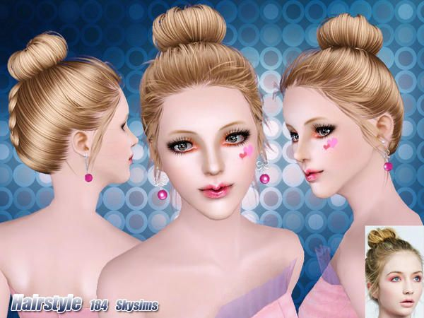 Chignon Hair 184 By Skysims Sims 3 Downloads Cc Caboodle Bun Hairstyles High Bun Hairstyles Sims Hair
