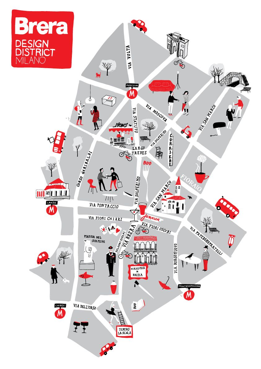 What To See In Brera District Map Design Illustrated Map