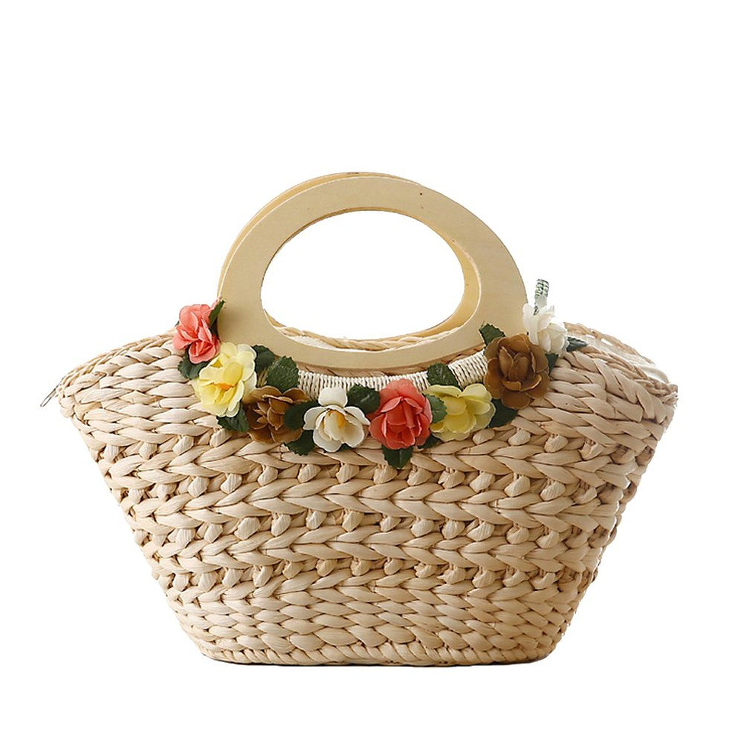 Tonwhar® Flower Decoration Natural Corn Husk Straw Bag ...