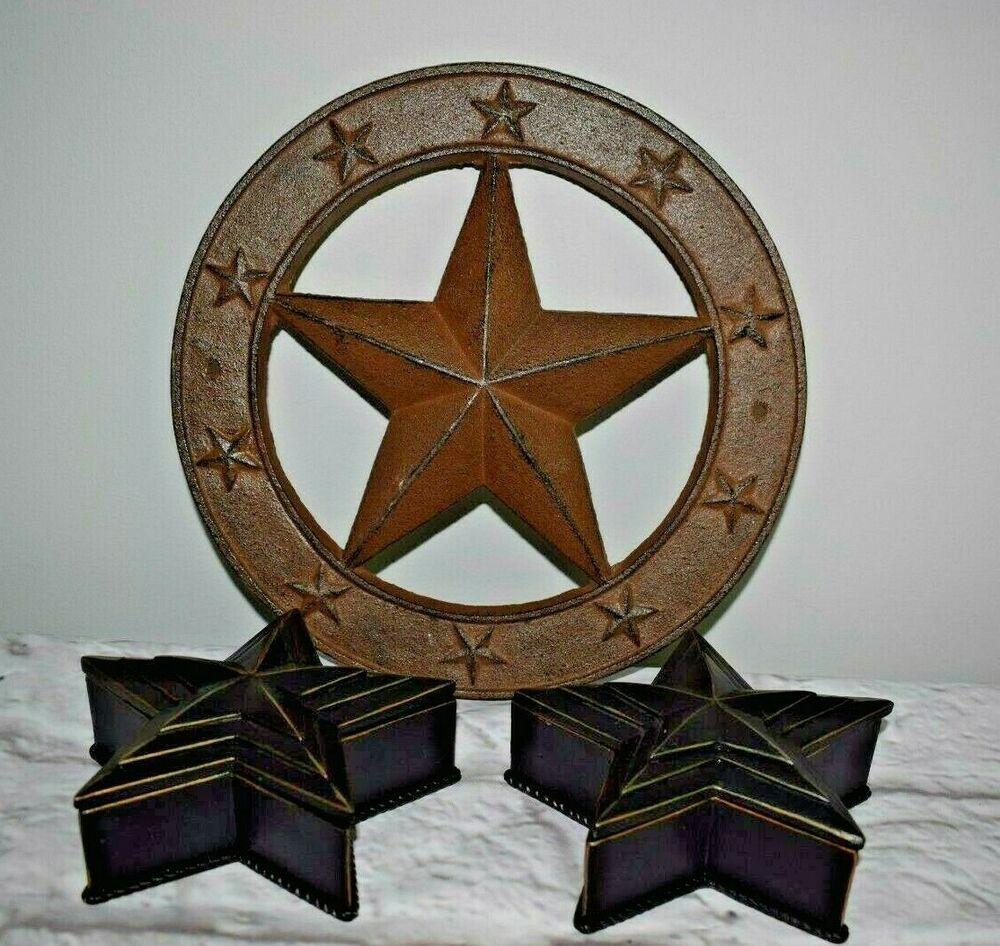 Western Texas Star Decor Cast Iron Circle Star Wall