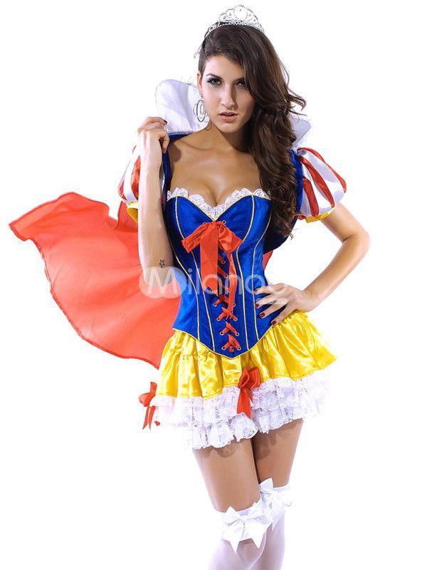 Sexy Blue Red Yellow Acrylic Satin Sexy Snow White Princess Costume - princess halloween costume ideas