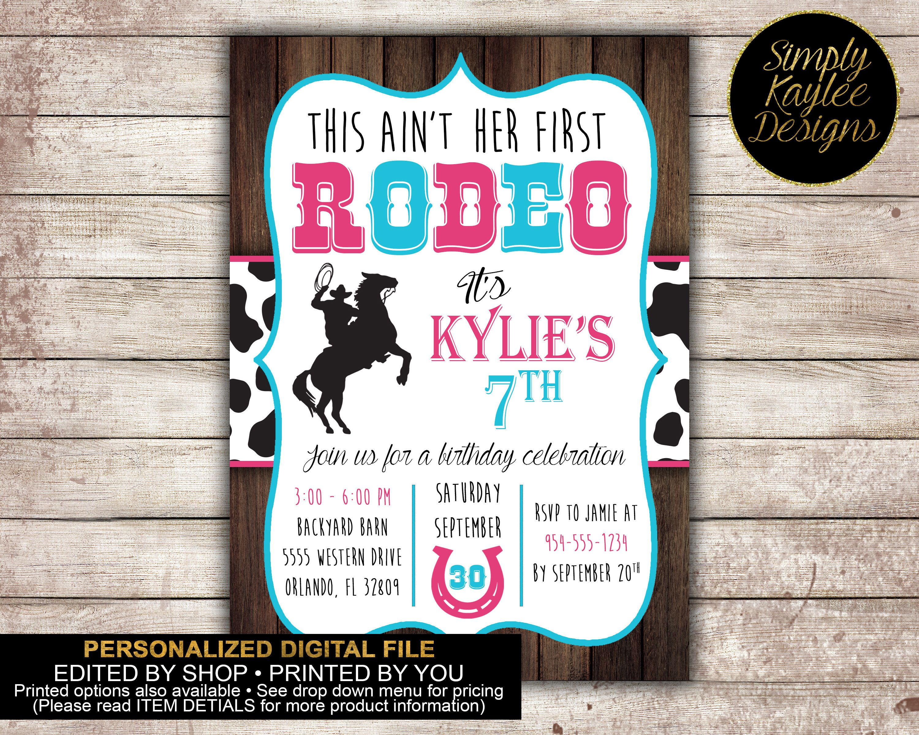 Cowgirl Rodeo Birthday Party Invitation by SimplyKayleeDesigns on ...