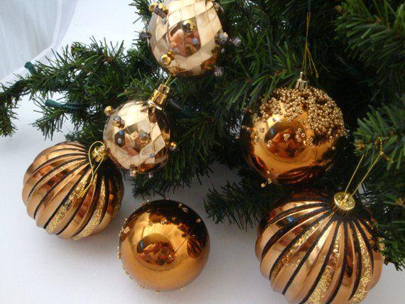 Copper Christmas Ornaments.Beaded Christmas Ornament Set 6 Copper Ball Ornaments