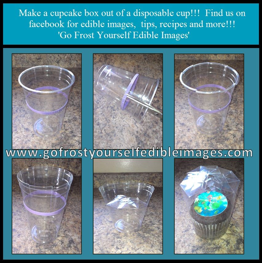 Make A Cupcake Box Out Of A Plasticpaper Cup Finish Off With Cool Decorative Cupcake Boxes
