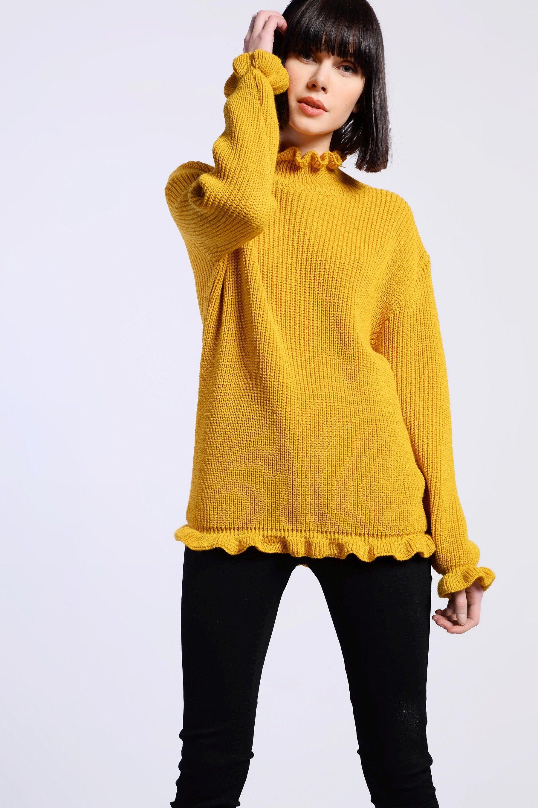 c7b2f233327793 Womens Glamorous Frill Hem Knitted Jumper - Yellow No Frills, Uk Online,  Mustard,