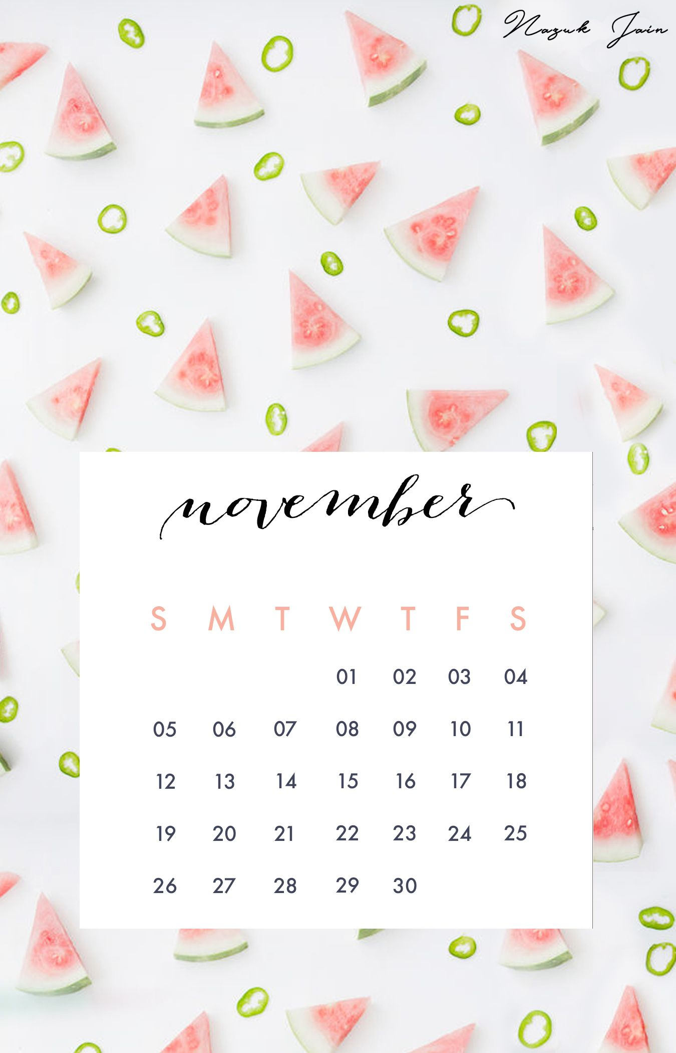 november free calendar printables 2017 by nazuk jain