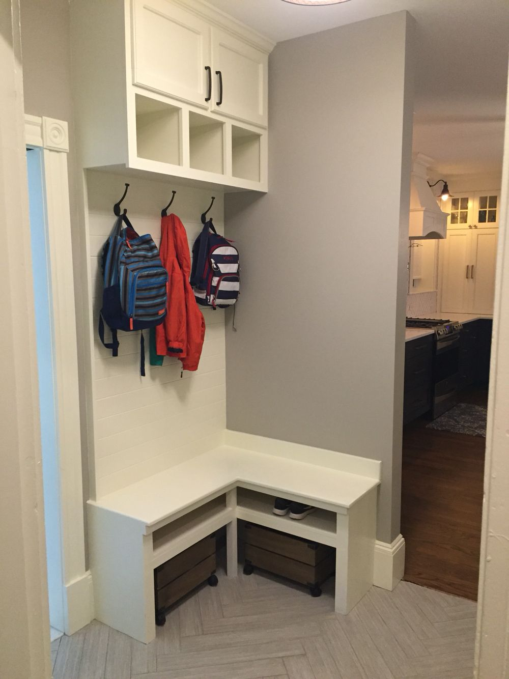 Corner bench mudroom built in small mudroom