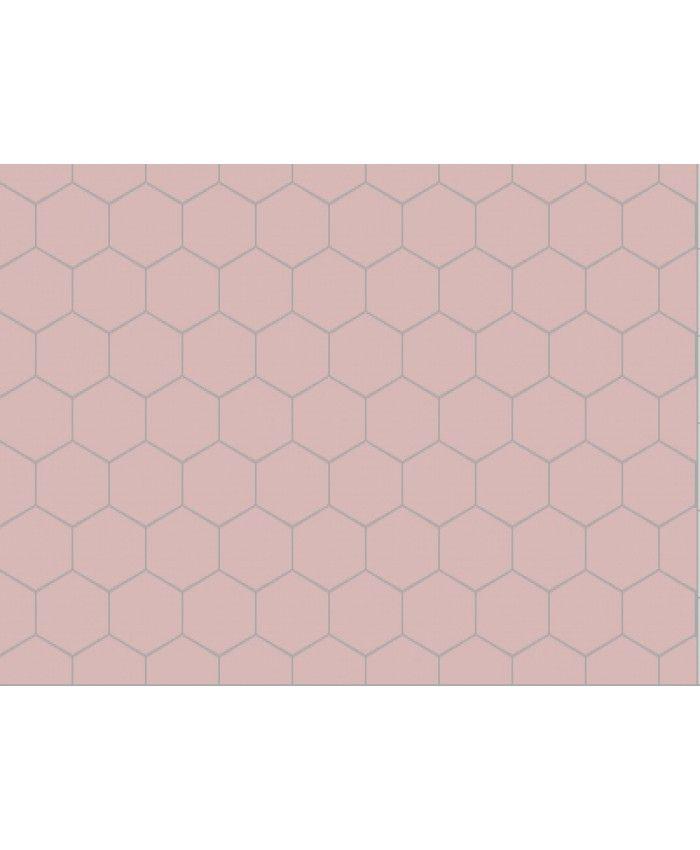 pink hexagon floor tile kitchen ideas