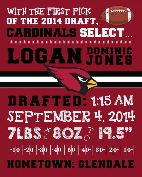 7cd0b3a2 NFL Arizona Cardinals Birth Announcement Wall Art. Personalized ...