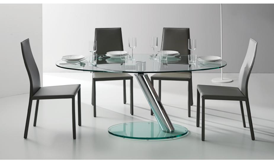 tr s belle table ronde avec un plateau et une rallonge en verre et une m canique en acier pour. Black Bedroom Furniture Sets. Home Design Ideas