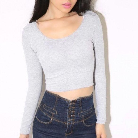 0532debc8 New Woman Crop Top Tee T-shirt Size Long Sleeve Tops Tight Shirt in ...